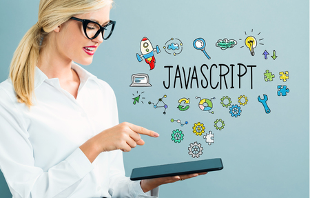 Javascript text with business woman using a tablet Reklamní fotografie