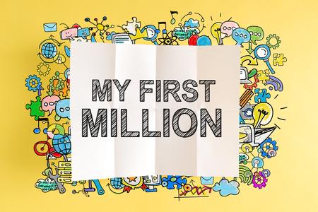 Mijn eerste miljoen tekst met kleurrijke illustraties op een gele achtergrond Stockfoto