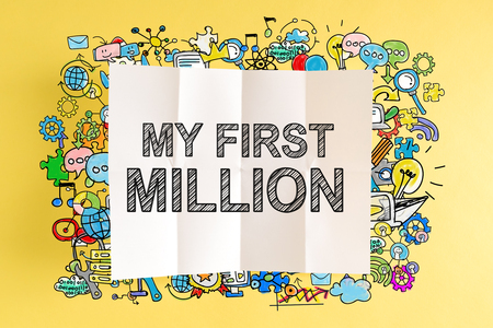 My First Million text with colorful illustrations on a yellow background Stock Illustration - 83760498