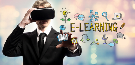 E-Learning text with businessman using a virtual reality headset