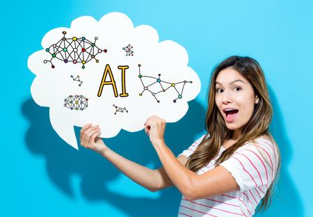 AI-tekst met jonge vrouw die een tekstballon op een blauwe achtergrond