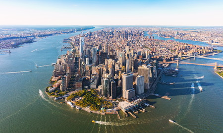 Aerial view of lower Manhattan New York City Zdjęcie Seryjne - 84825391