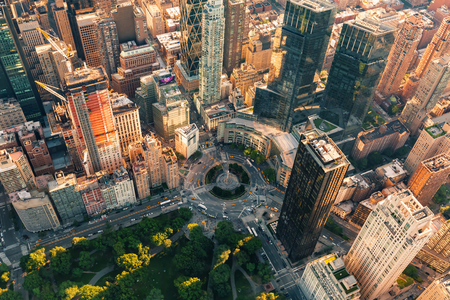Aerial view of Columbus Circle in New York City at sunset