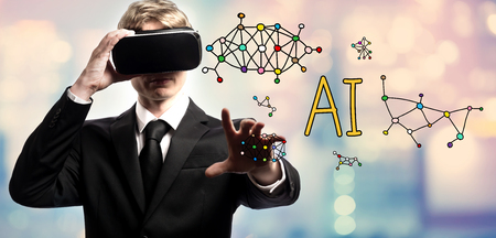 AI text with businessman using a virtual reality headset