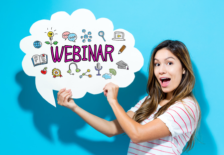Webinar text with young woman holding a speech bubble on a blue background
