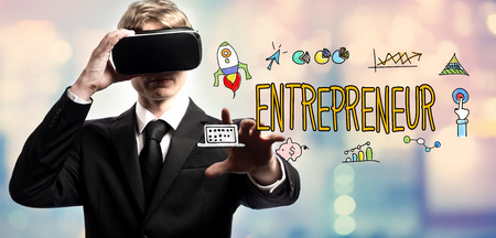Entrepreneur text with businessman using a virtual reality headset