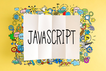 Javascript text with colorful illustrations on a yellow background
