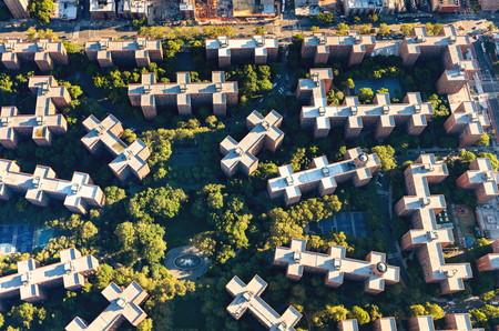 スタイブサント町、マンハッタン、ニューヨーク市でピーターのたる製造人の村の空撮
