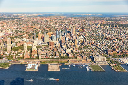 Aerial view of Brooklyn New York City with East river in the foreground Фото со стока - 84430320
