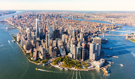 Aerial view of lower Manhattan New York City
