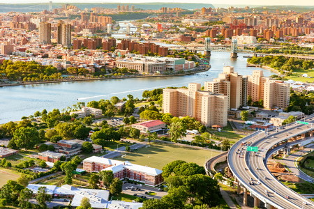 Aerial view of the Triborough Bridge on Randalls Island in New York City