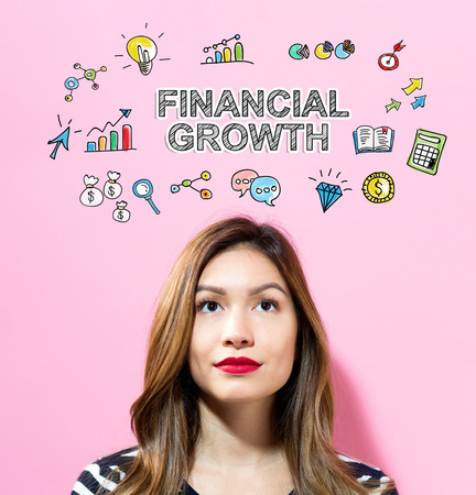Financial Growth text with young woman on a pink background