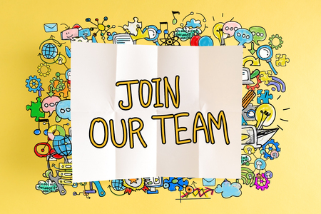 Join Our Team text with colorful illustrations on a yellow background