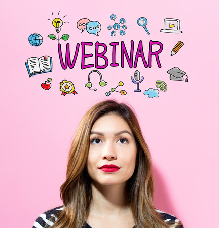 Webinar text with young woman on a pink background