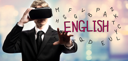 English text with businessman using a virtual reality headset