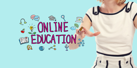 Online Education text with young woman on a blue background