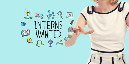 Interns Wanted concept with young woman on a blue background