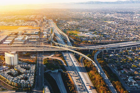 Aerial view of traffic on a highway in Los Angeles, CA Reklamní fotografie