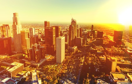 Aerial view of a Downtown Los Angeles at sunset Standard-Bild