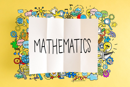 small business: Mathematics text with colorful illustrations on a yellow background