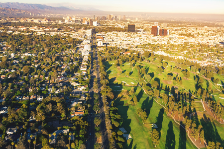 Aerial view of a golf course country club in Los Angeles, CA Imagens