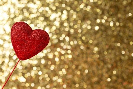 Valentines day theme with heart shaped decoration on bokeh background Stock Photo