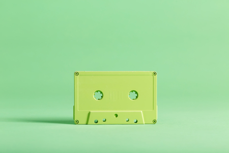 Retro cassette tape a on bright background