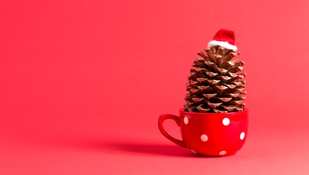 Christmas themed pinecone with santa hat on red Banco de Imagens