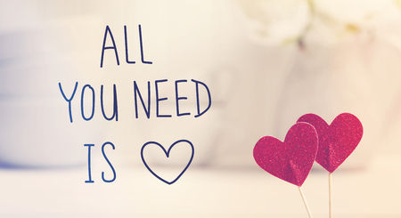 All You Need Is Love message with small red hearts with white dishes Фото со стока