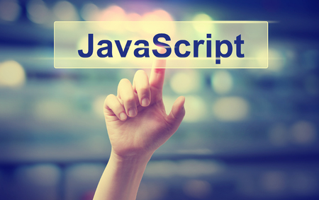 Java Script concept with hand pressing a button