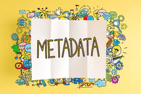 노란색 배경에 다채로운 삽화가있는 메타 데이터 텍스트