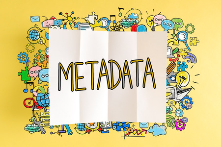 Metadata text with colorful illustrations on a yellow background Stock Photo