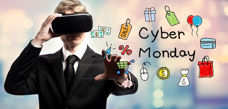 Cyber Monday text with businessman using a virtual reality headset