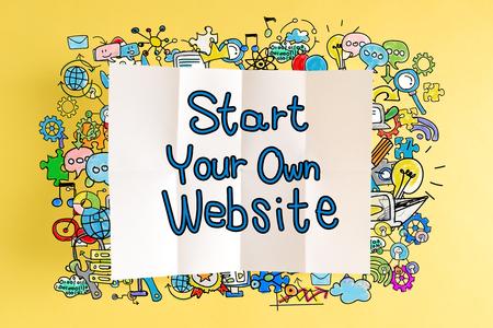 黄色の背景にカラフルなイラストとあなた自身のウェブサイトのテキストを開始します。