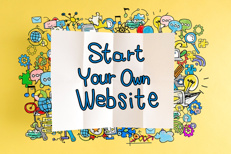 Start Your Own Website text with colorful illustrations on a yellow background