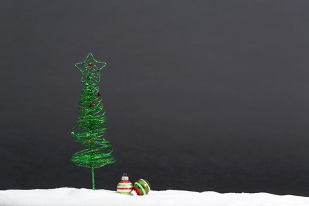 Christmas tree and little bauble decoration ornaments Stock Photo