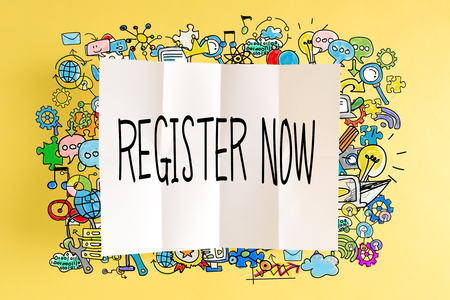 Register Now text with colorful illustrations on a yellow background Reklamní fotografie