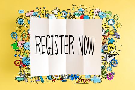 Registreer nu tekst met kleurrijke illustraties op een gele achtergrond