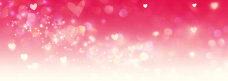 Beautiful shiny hearts and abstract lights background Foto de archivo