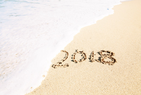 Celebrating the year 2018 on a tropical beach
