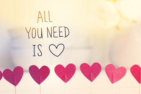 All You Need Is Love message with small red hearts with white dishes Stock Photo