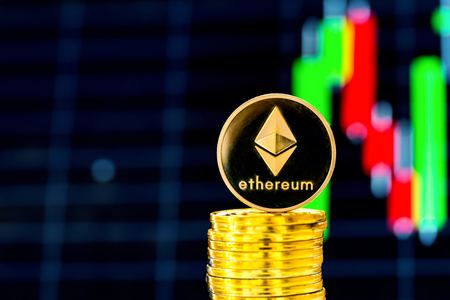 Stack of ethereum coins with a price chart in the background