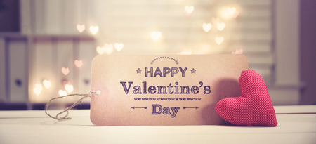 Valentines Day message with a red heart with heart shaped lights