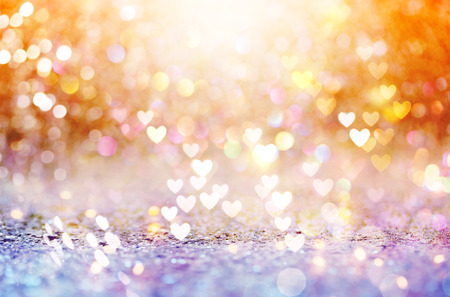 Beautiful shiny hearts and abstract lights background Standard-Bild