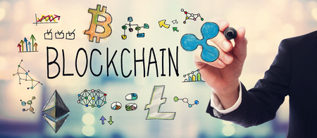 Blockchain with businessman on blurred abstract background