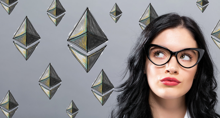 Ethereum with young businesswoman in a thoughtful face