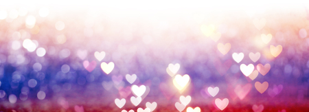 Beautiful shiny hearts and abstract lights background 版權商用圖片