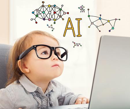 그녀의 노트북을 사용하는 유아 소녀와 인공 지능 텍스트 스톡 콘텐츠 - 93136849