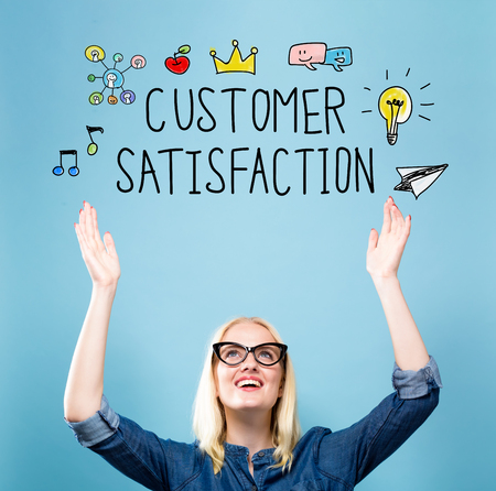 Customer Satisfaction with young woman reaching and looking upwards Stock Photo