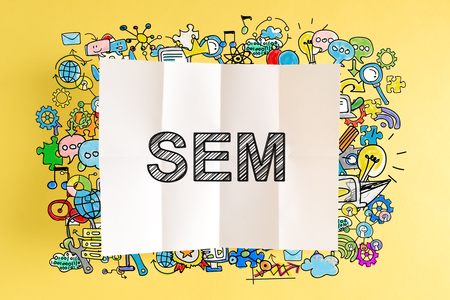 SEM text with colorful illustrations on a yellow background